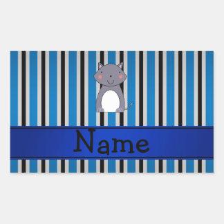 Personalized name wolf blue grey stripes sticker