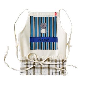 Personalized name wolf blue grey stripes zazzle HEART apron