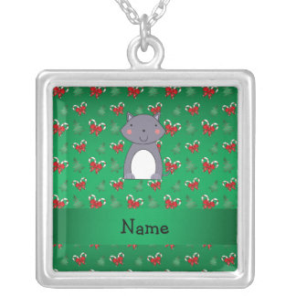 Personalized name wolf green candy canes bows personalized necklace