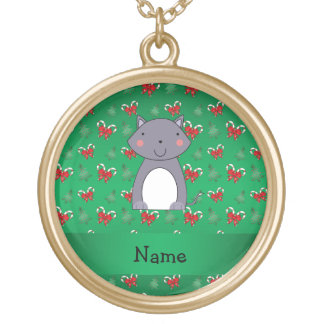 Personalized name wolf green candy canes bows pendant