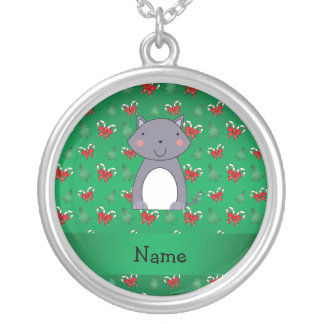 Personalized name wolf green candy canes bows pendants