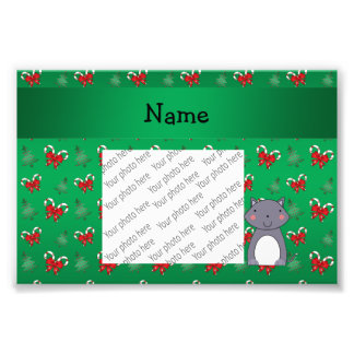 Personalized name wolf green candy canes bows photograph