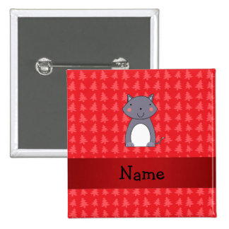 Personalized name wolf red christmas trees 2 inch square button