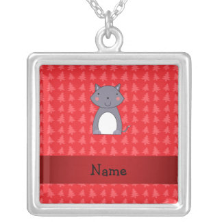 Personalized name wolf red christmas trees pendants