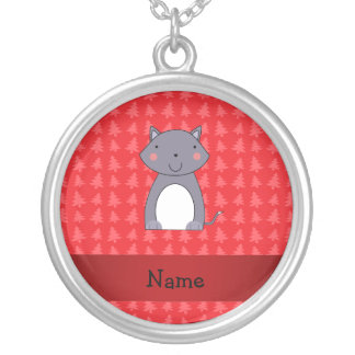 Personalized name wolf red christmas trees necklaces