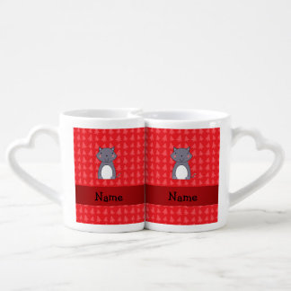 Personalized name wolf red christmas trees couples' coffee mug set