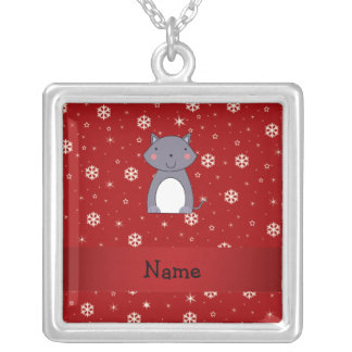 Personalized name wolf red snowflakes custom necklace