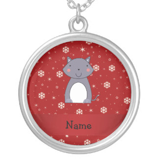Personalized name wolf red snowflakes personalized necklace