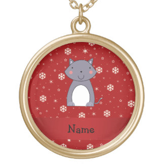 Personalized name wolf red snowflakes pendant