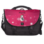 Personalized name woodpecker pink snowflakes bag for laptop