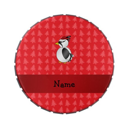 Personalized name woodpecker red christmas trees candy tin