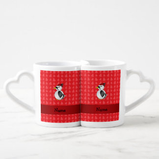 Personalized name woodpecker red christmas trees couples' coffee mug set