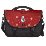 Personalized name woodpecker red snowflakes bags for laptop