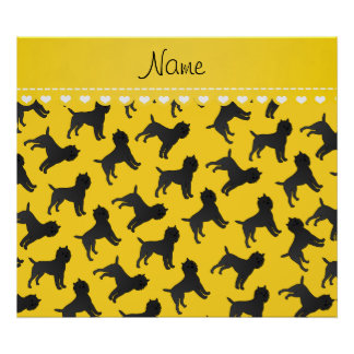 Personalized name yellow affenpinscher dogs poster