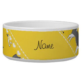 Personalized name yellow alaskan malamute dogs pet water bowls