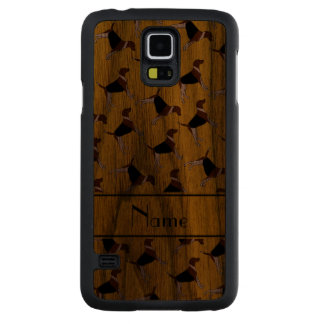 Personalized name yellow american foxhound dogs carved® walnut galaxy s5 case