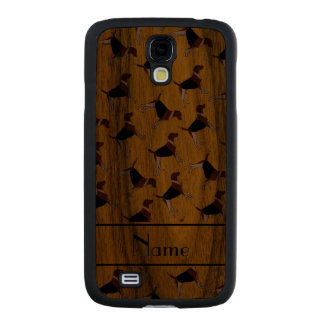 Personalized name yellow american foxhound dogs carved® walnut galaxy s4 slim case