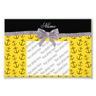 Personalized name yellow anchor silver glitter bow photographic print