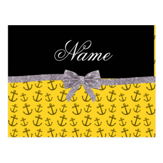 Personalized name yellow anchor silver glitter bow postcard