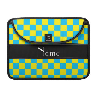 Personalized name yellow and blue checkers sleeves for MacBooks