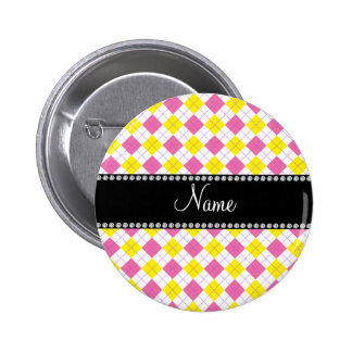 Personalized name Yellow and pink argyle 2 Inch Round Button