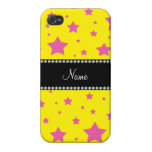 Personalized name Yellow and Pink stars iPhone 4/4S Case