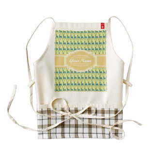 Personalized Name Yellow and Teal Deer Pattern | N Zazzle HEART Apron