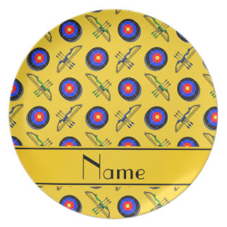 Personalized name yellow archery dinner plate