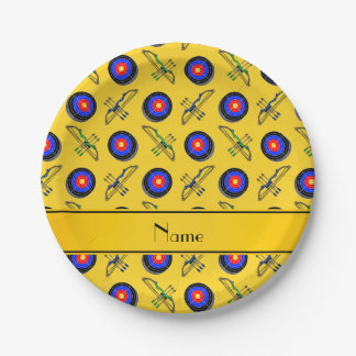 Personalized name yellow archery paper plate