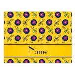 Personalized name yellow archery postcard