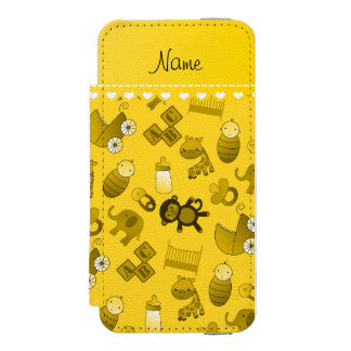 Personalized name yellow baby animals wallet case for iPhone SE/5/5s