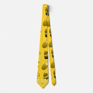 Personalized name yellow baby blocks mobile toys neck tie