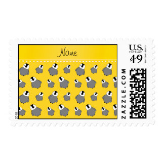 Personalized name yellow baby penguins postage