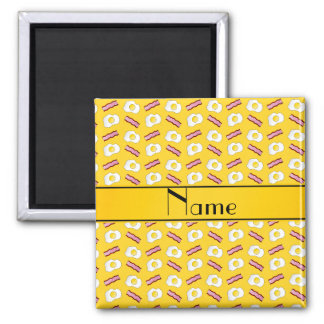 Personalized name yellow bacon eggs 2 inch square magnet