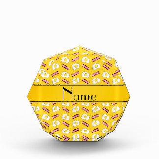 Personalized name yellow bacon eggs acrylic award