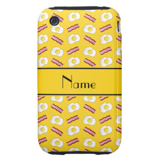Personalized name yellow bacon eggs iPhone 3 tough covers