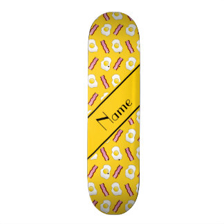 Personalized name yellow bacon eggs skateboard deck