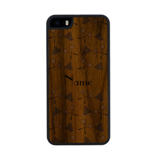 Personalized name yellow badminton carved® walnut iPhone 5 case