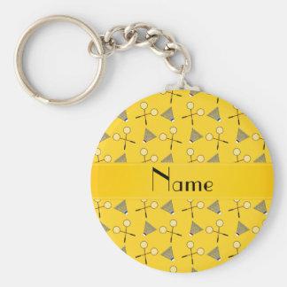 Personalized name yellow badminton pattern basic round button keychain