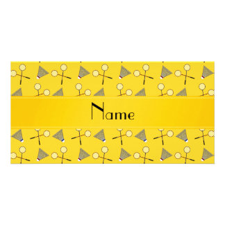 Personalized name yellow badminton pattern card