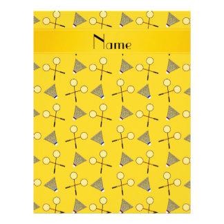Personalized name yellow badminton pattern letterhead