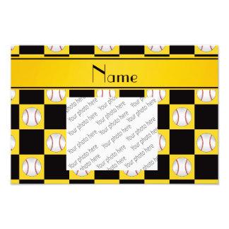 Personalized name yellow baseball checkers photo print