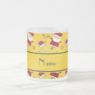 Personalized name yellow baseball christmas 10 oz frosted glass coffee mug