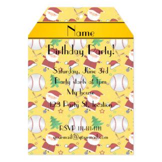 Personalized name yellow baseball christmas 5x7 paper invitation card