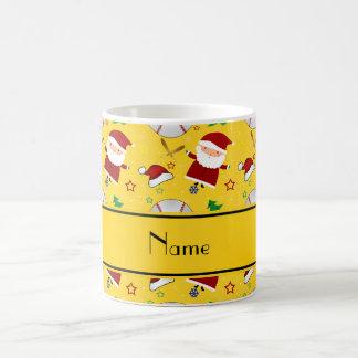 Personalized name yellow baseball christmas classic white coffee mug