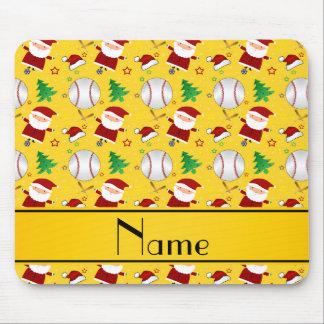 Personalized name yellow baseball christmas mouse pad