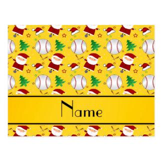 Personalized name yellow baseball christmas postcard