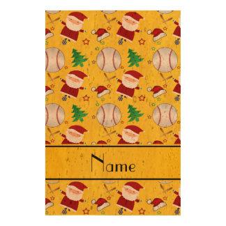Personalized name yellow baseball christmas cork paper