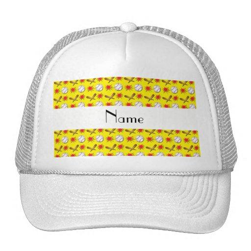 Personalized name yellow baseball pattern hat