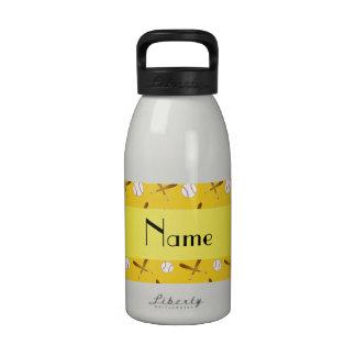 Personalized name yellow baseball drinking bottles